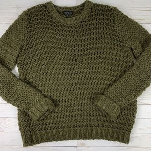 Topshop Womens 4 Sweater Loose Chunky Knit Green